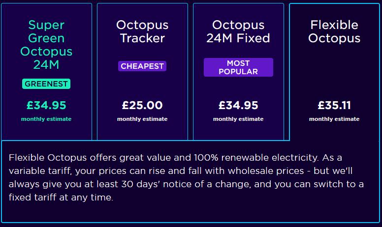 Octopus energy tariffs